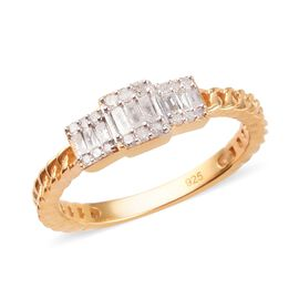 Diamond Cluster Ring in 14K Gold Overlay Sterling Silver 0.25 Ct.