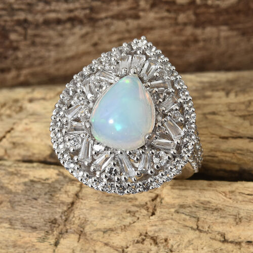 Limited Available- Ethiopian Welo Opal (Pear 11x9 mm, 2.15 Ct), White Topaz Ring in Platinum Overlay Sterling Silver 4.500 Ct, Silver wt 6.36 Gms.