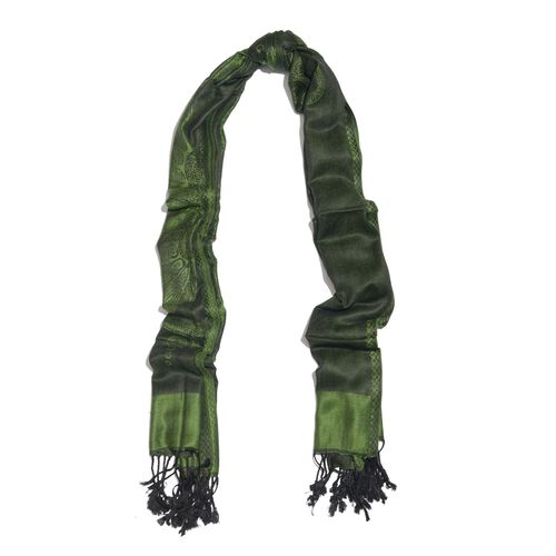 Limited Edition- Designer Inspired-Green and Black Colour Dragonfly Pattern Jacquard Scarf with Tassels (Size 180X70 Cm)