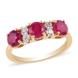 African Ruby (FF) and Natural Cambodian Zircon Ring in 14K Gold Overlay Sterling Silver 2.520 Ct.