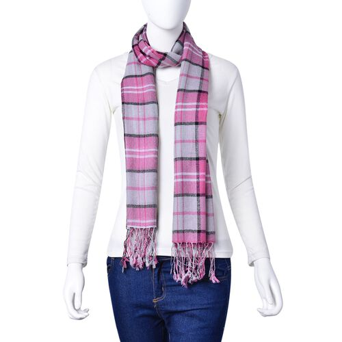 100% Wool Pink, Grey and Multi Colour Checks Pattern Scarf with Tassels (Size 170X68 Cm)