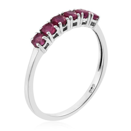African Ruby (Rnd) Ring in Platinum Overlay Sterling Silver 1.00 Ct.