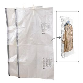 Set of 2 Extra Large Heavy Duty Storage Solution - Hanging Vacuum Bag With Multiple Hanger Slots (Si