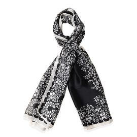 Black Colour Floral Pattern Scarf (Size 180x87 Cm)