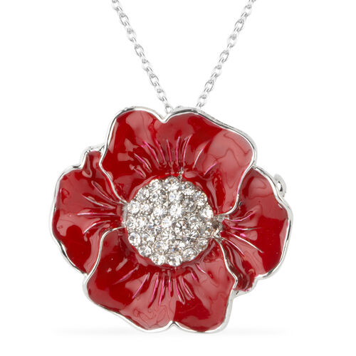 TJC Poppy Design - White Austrian Crystal Red Colour Enameled Poppy Flower Brooch or Pendant With Ch