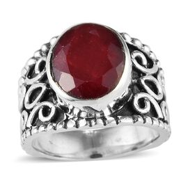 5.09 Ct Ruby Solitaire Ring in Silver 5.50 Grams
