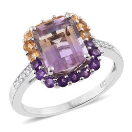 Anahi Ametrine (Oct 3.25 Ct), Amethyst, Citrine and Natural Cambodian Zircon Ring in Platinum Overla