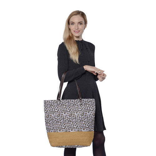 Leopard Pattern Tote Bag with Straw-Woven Design in Light Brown