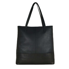 Assots London SIENNA Croc Leather Tote Bag in Black (Size 38x13x35 Cm)