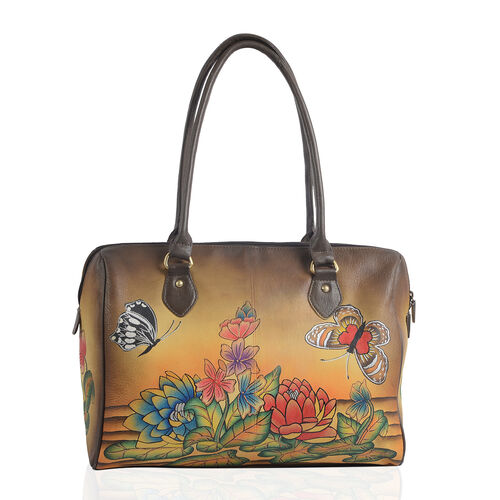 SUKRITI 100% Genuine Leather Brown and Multi Colour Hand Painted Water Lilies Shoulder Bag (Size 38x