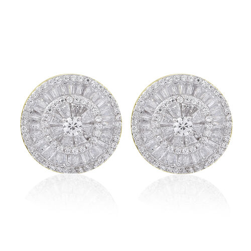 ELANZA AAA Simulated White Diamond (Rnd) Stud Earrings in 14K Gold Overlay Sterling Silver
