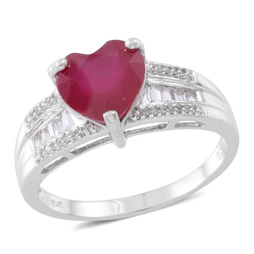 Designer Inspired- African Ruby (Hrt 3.30 Ct), Natural White Cambodian Zircon Ring in Rhodium Plated