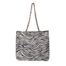 Tote Bag PASSAGE Color Beige zebra strip Size Profile Tote bag  Wall (exterior) Semi PU  (exterior) zip-1 Pockets (interior) slip-1  Measurement