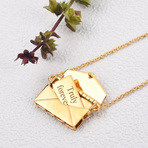 Personalise Engraved Secret Message Envelope Necklace