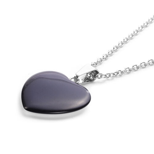 Black Agate Heart Pendant with Chain (Size 20) in Silver Tone 21.50 Ct.