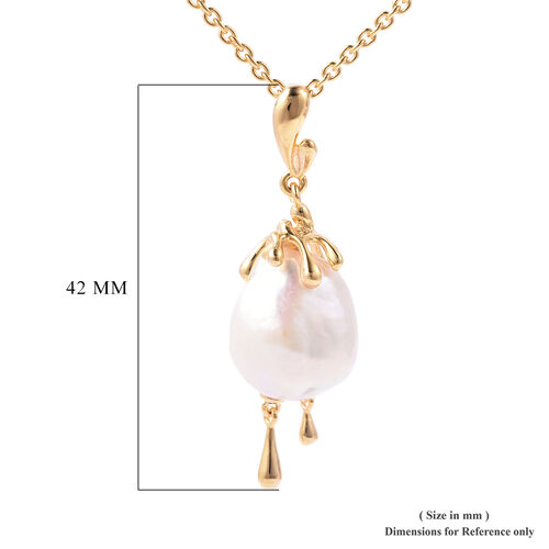 LucyQ - Freshwater White Baroque Pearl Drop Pendant With Chain (Size 30) in Yellow Gold Overlay Sterling Silver