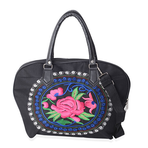 Black and Multi Colour Flower Pattern Tote Bag with Adjustable and Removable Shoulder Strap (Size 42x29x14x28.5 Cm)
