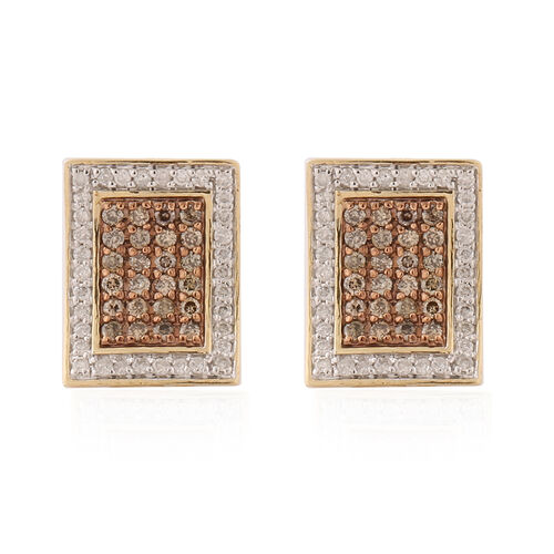 9K Yellow Gold Champagne Diamond and Natural White Diamond Earrings (with Push Back) 1.02 ct,  Gold