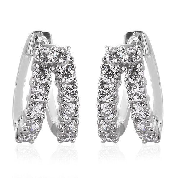 J Francis Made with SWAROVSKI ZIRCONIA Hoop Earrings in Platinum plated Sterling Silver