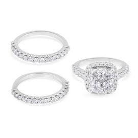 New York Close Out- Set of 3 -14K White Gold Diamond (I1-I2/G-H) Ring 3.02 Ct, Gold wt. 10.70 Gms.