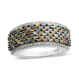 1 Carat Multi Colour Natural Diamond Cluster Ring in Rhodium Plated Silver