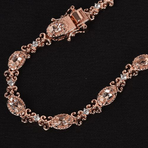 Marropino Morganite and Natural Cambodian Zircon Fleur de lis Link Bracelet (Size 7.5) in Rose Gold Overlay Sterling Silver 4.50 Ct, Silver wt 12.62 Gms
