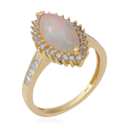 9K Yellow Gold AAA Ethiopian Welo Opal and Natural Cambodian Zircon Marquise Ring 2.71 Ct.