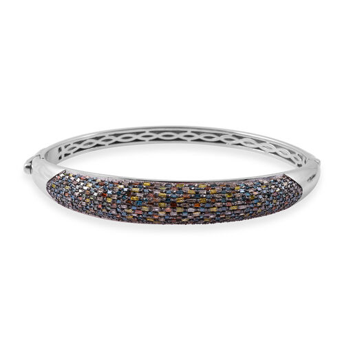 3 Carat Multi Color Diamond Bangle in Platinum Plated Sterling Silver 28 Grams 7.25 Inch