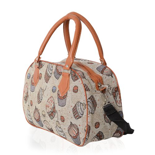 Jacquard Light Weight Ice-Cream and Cake Pattern Tote Bag with Removable Shoulder Strap (Size 35x23x13.5 Cm)