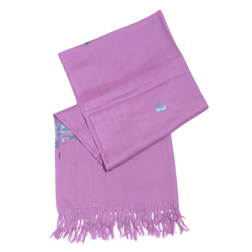 One Time Deal-100% Merino Wool Violet, Blue and Multi Colour Embroidered Scarf with Tassels (Size 190X70 Cm)