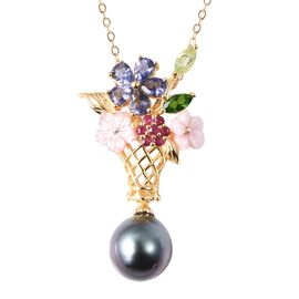 Jardin Collection - Baroque Tahitian Pearl, Pink Mother of Pearl and Multi Gemstone Floral Basket Pe