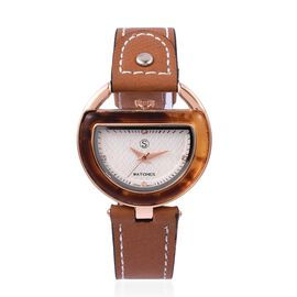 STRADA Japanese Movement White Austrian Crystal White Dial Water Resistant Watch in Rose Tone with Brown Strap