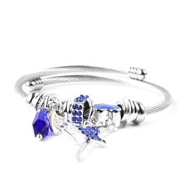 Simulated Blue Sapphire and Blue Austrian Crystal Adjustable Enamelled Charm Bracelet (Size 6-7) in