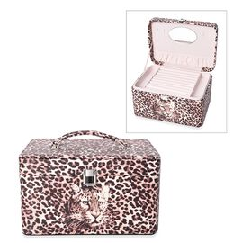 3-Tier Leopard Pattern Jewellery Box with Handle and Inside Mirror (Size 25.8X18.8X14.5 Cm) - Brown