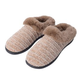 Chenille Knitted Faux Fur Slipper with Waterproof Sole (Size M) - Beige