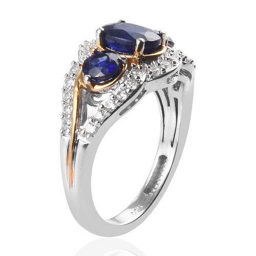 Masoala Sapphire and Natural Cambodian Zircon Ring in Platinum and Yellow Gold Overlay Sterling Silver 2.63 Ct.