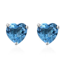 Blue Topaz (Hrt) Stud Earrings (with Push Back) in Platinum Overlay Sterling Silver 4.500 Ct.