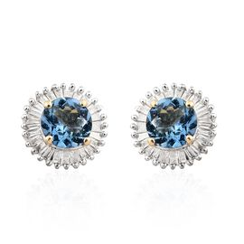 NY Close Out Deal- 14K Yellow Gold AAA Santa Maria Aquamarine (Rnd), Diamond Stud Earrings (with Push Back) 1.250 Ct.