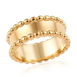 Designer Inspired- 14K Gold Overlay Sterling Silver Band Ring (Size Q), Silver wt 4.32 Gms.