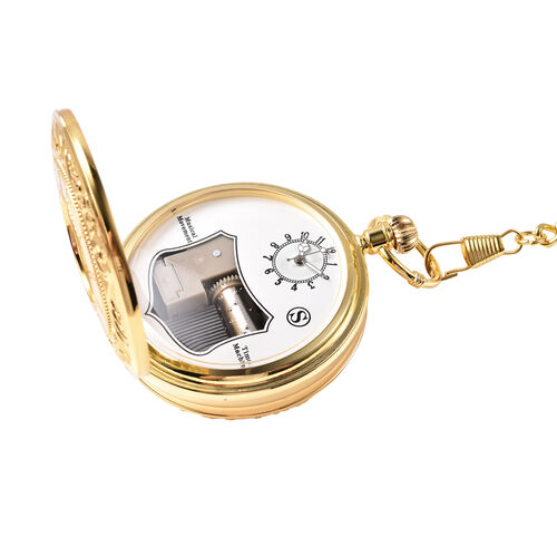 STRADA Japanese Movement Roman Number Pattern Water Resistant Music Pocket Watch with Chain (Size 14) in Yellow Gold Tone