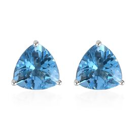 9K White Gold Swiss Blue Topaz Stud Earrings (with Push Back) 2.75 Ct.