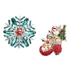 Set of 2 -  Multi Colour Austrian Crystal Enamelled Christmas Theme - Snowflake and Santa Boot Brooc
