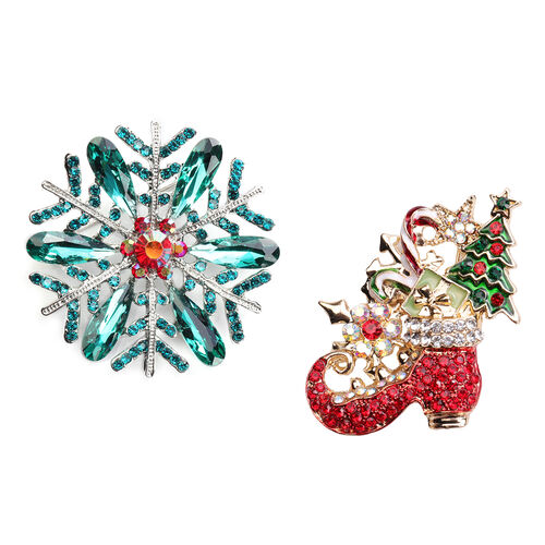 Set of 2 -  Multi Colour Austrian Crystal Enamelled Christmas Theme - Snowflake and Santa Boot Brooc