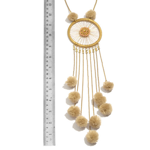 Dream Catcher Necklace (Size 30 with 2 inch Extender) and Matching Key Chain with Champagne Colour Pom Pom in Gold Tone