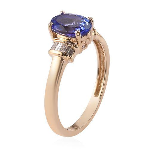 14K Yellow Gold Premium Tanzanite (Ovl) and Diamond (I3/G-H) Ring 1.100 Ct.
