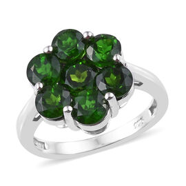 Russian Diopside (Rnd) Pressure Set Ring in Platinum Overlay Sterling Silver 3.000 Ct.