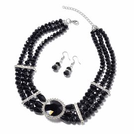 2 Piece Set - Simulated Black Spinel and White Austrian Crystal Multi-row Beads Necklace (Size 18 wi