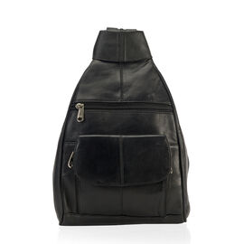 Close Out Deal- 100% Genuine Leather Multipockets Backpack in Black Colour (Size 20x33x7.62 cm)