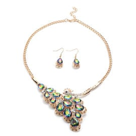 2 Piece Set - Simulated Mystic Topaz and Multi Colour Austrian Crystal Necklace (Size 22 with Extend