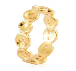 Lucy Q Yellow Gold Overlay Sterling Silver Buttons Ring
